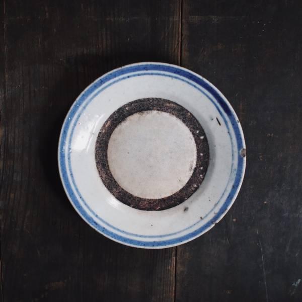 早期疊燒盤_鈷藍雙邊手繪紋