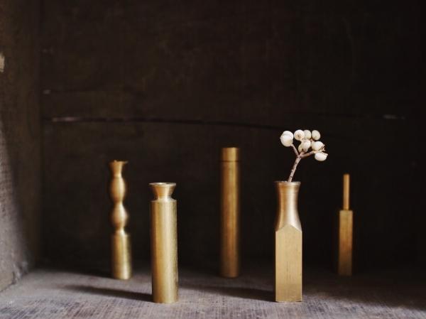 伏流物件 黃銅香座花器_圓形