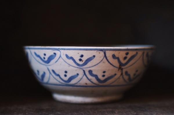 早期疊燒手繪屋瓦老碗