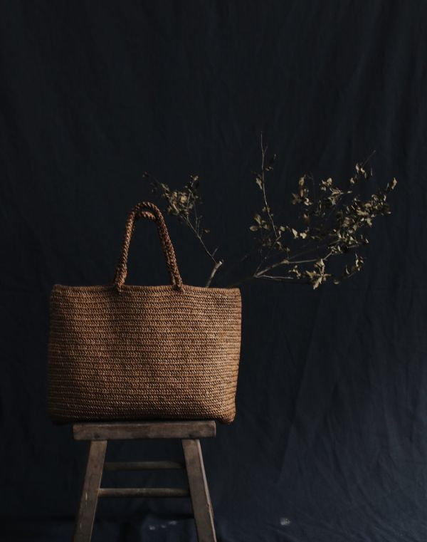 METTA|杉木纖維鉤針編織提袋|魚骨編原色