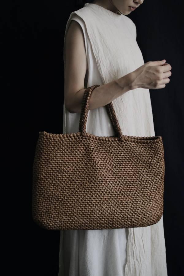 METTA|杉木纖維鉤針編織提袋|雙線短針原色