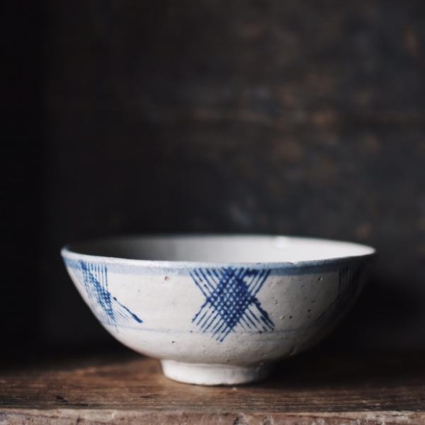 早期疊燒碗_鈷藍手繪紋