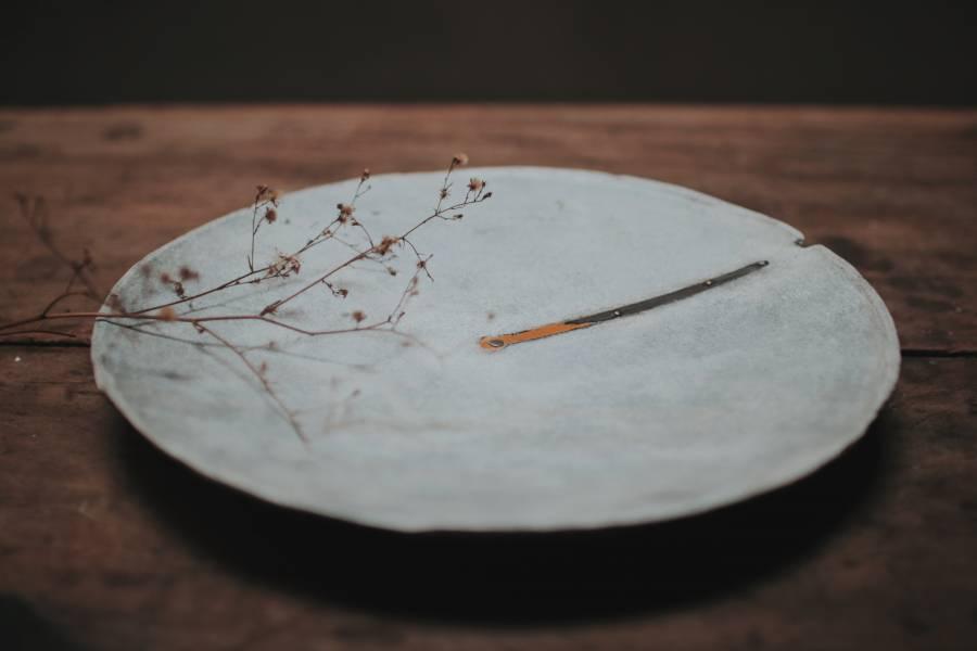 間作 鑲嵌銅木盤