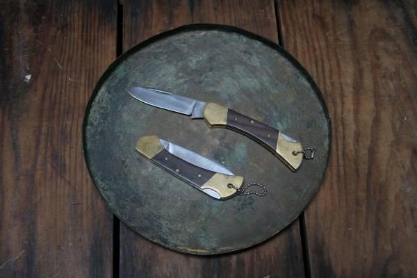 日本黃銅木柄手工刀
