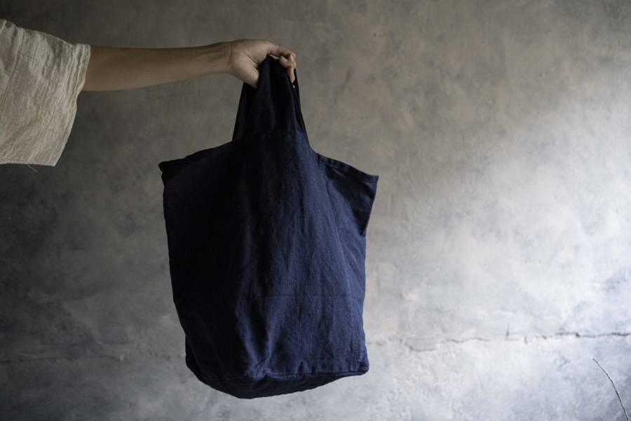 森林燦燦 布質系列 寬把提袋  白/藍