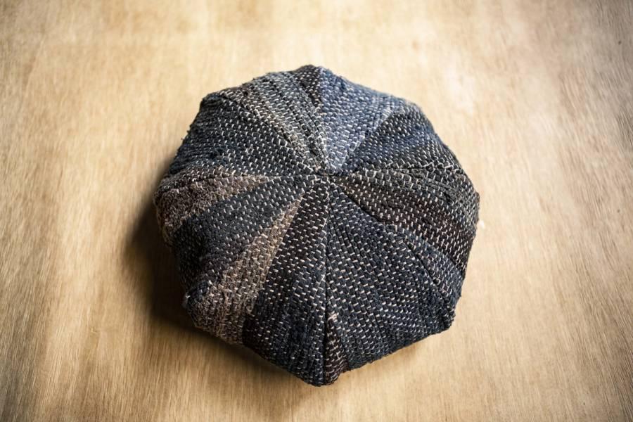 Onka|藍染裂織拼接貝雷帽