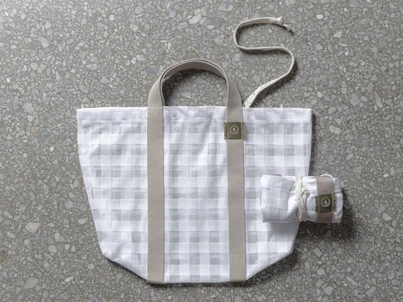憶|蚊帳布再製提袋|格紋