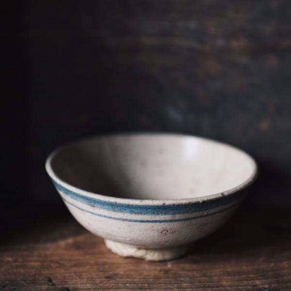 早期疊燒碗_鈷藍雙邊手繪紋