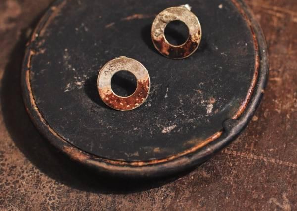MUCAO | 蝕 solar eclipse系列:黃銅銀針圓圈耳環