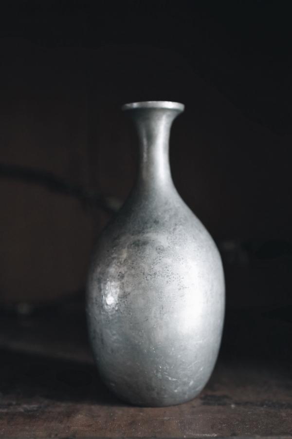 明治時代細頸錫花瓶_大