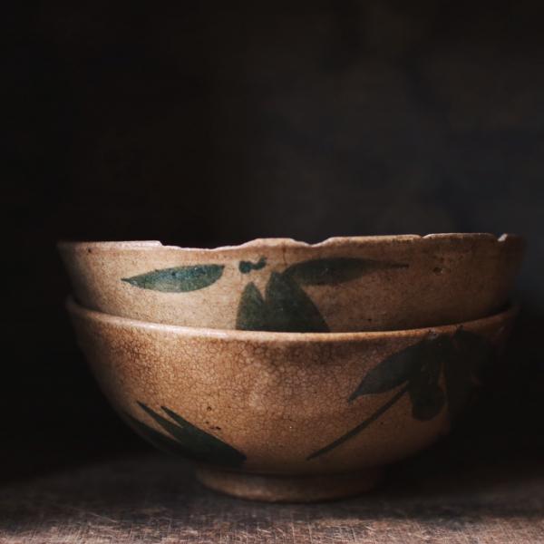 早期綠竹葉手繪碗