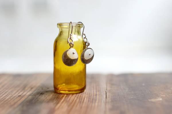 金皮製作 戈壁蛋白石銀耳環_綴圓片