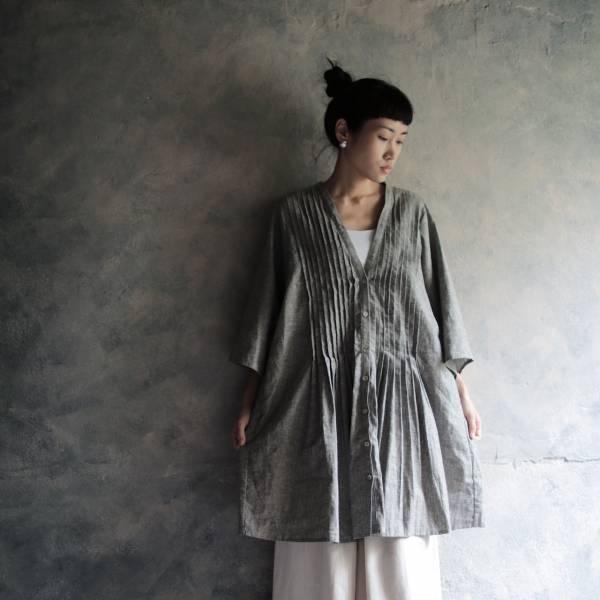 川衣 WEAR BEING|長版寬袖V領塔克襯衫 (三色)