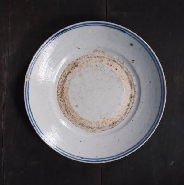 早期疊燒盤_鈷藍外圈手繪紋