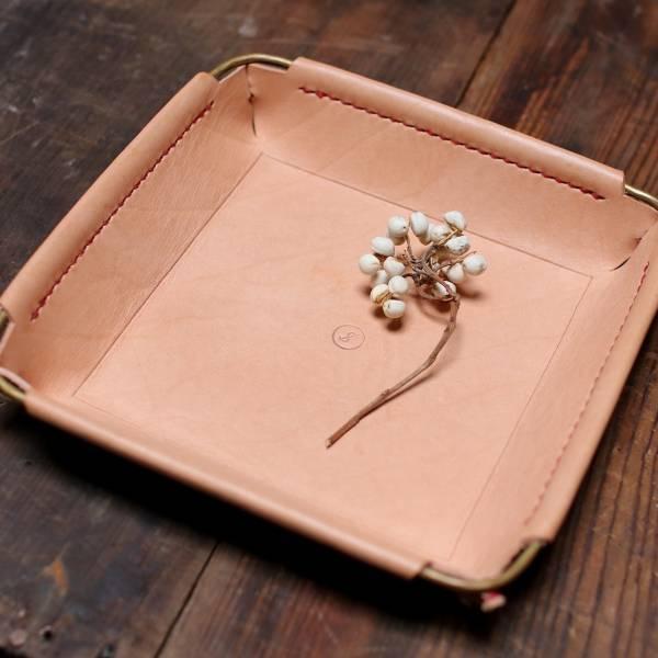 金皮製作 S-object黃銅皮革置物盤 - 方 - 原皮