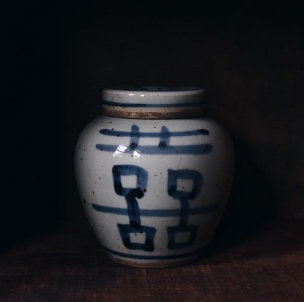 老手繪雙喜陶罐