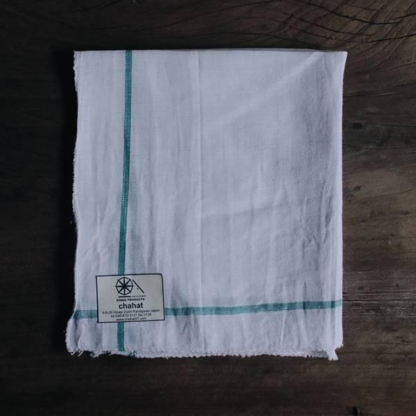 甘地織手帕 綠色橘色系