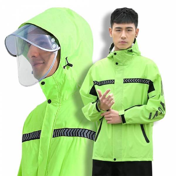 【兩件式雨衣套裝 (紅/綠)】雨衣雨褲兩件式雨衣 雙帽簷機車雨衣 兩截式雨衣 防水防風雨衣 【兩件式雨衣套裝 (紅/綠)】雨衣雨褲兩件式雨衣 雙帽簷機車雨衣 兩截式雨衣 防水防風雨衣