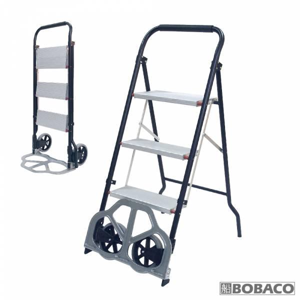 【二合一折疊梯子推車】三階梯手推車 鐵梯 家用梯 階梯推車 梯子手拉車 摺疊梯推車 兩用車梯 【二合一折疊梯子推車】三階梯手推車 鐵梯 家用梯 階梯推車 梯子手拉車 摺疊梯推車 兩用車梯