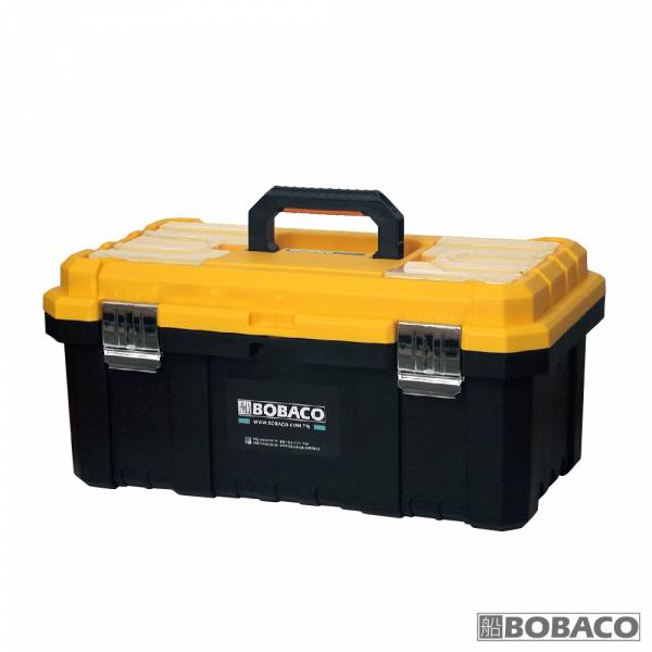 【旗艦款五金塑料工具箱-橘黃(金屬扣)】手提工具箱 工具收納箱 零件收納盒 電工專用工具箱