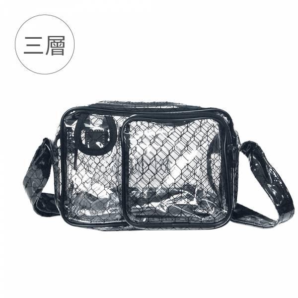 【三層黑格紋透明小側背包】高科技產業 抗靜電無塵室包 斜背包 工具包 工作包 【三層黑格紋透明小側背包】高科技產業 抗靜電無塵室包 斜背包 工具包 工作包