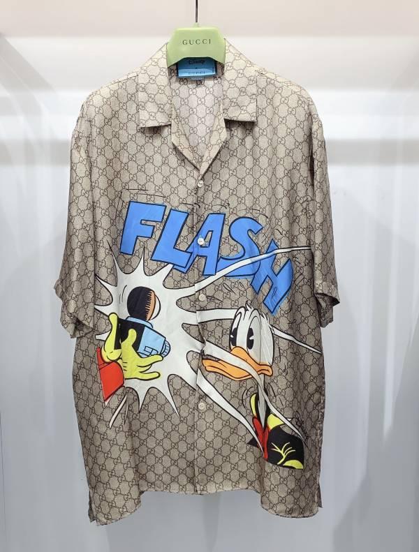 Gucci 男款Disney x Gucci唐老鴨印花真絲保齡球衫  IT44/ 46/48/50 DIORHOMME