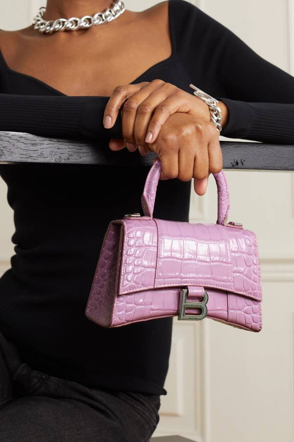 Balenciaga Hourglass XS 鱷魚紋小牛皮沙漏2用包  粉紫色