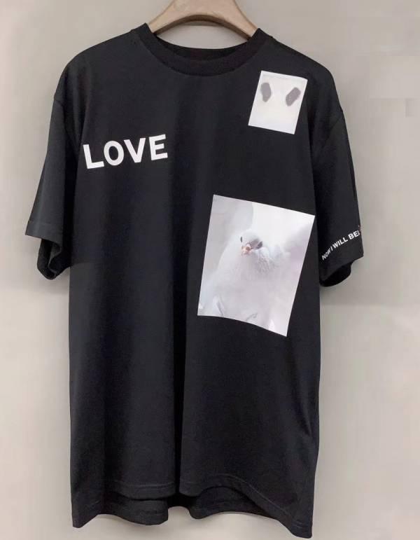 Burberry 男款混合印花鴿子圖案棉質 T 恤 黑色  S/M/L/XL