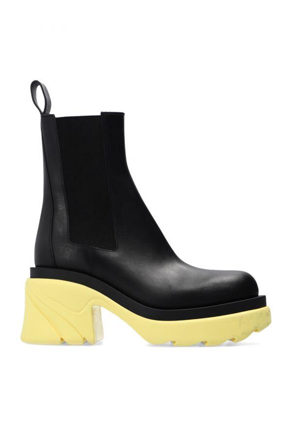 Bottega Veneta 女款植鞣皮革切爾西厚底靴 9.5cm高 黑色/檸檬黃色鞋底 IT 35/35.5/36/36.5/37/37.5/38