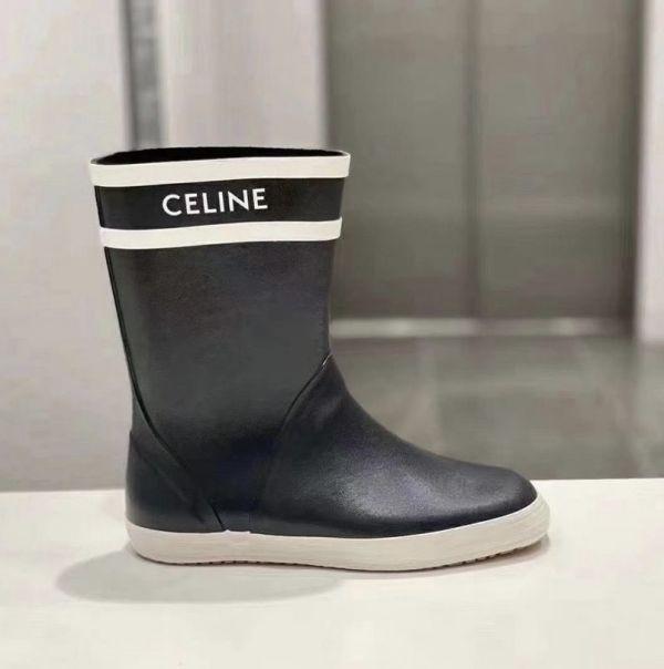 Celine 女款天然橡膠平底防水雨靴 海軍藍 IT 36/37/38/39/40/41 DIOR