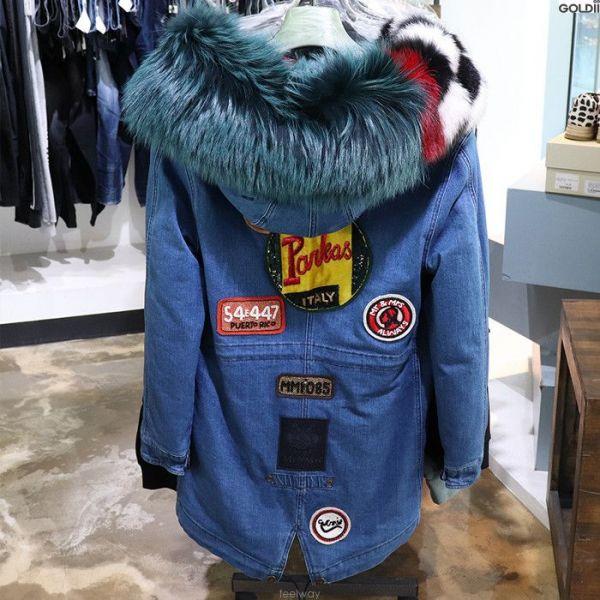 Mr&Mrs Fur Italy Raccoon  皮草領牛仔棉布派克防寒外套    XXS/ XS