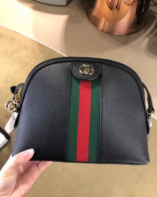 Gucci 499621 Ophidia GG Supreme 黑色小牛皮貝殼包