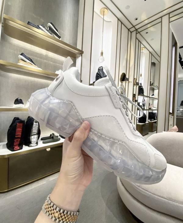 Jimmy Choo 白色小牛皮鑽石方塊跟球鞋  IT 35/35.5/36/36.5/37/37.5/38//39