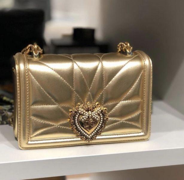 Dolce & Gabbana Devotion 珍珠心型 迷你小牛皮肩背包 金色