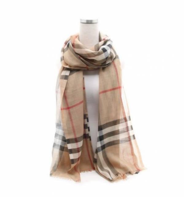 Burberry 80184681 輕盈格紋羊毛絲綢圍巾 典藏米色