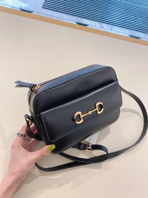 Gucci 6454541 馬銜扣1955小型肩揹包 黑色
