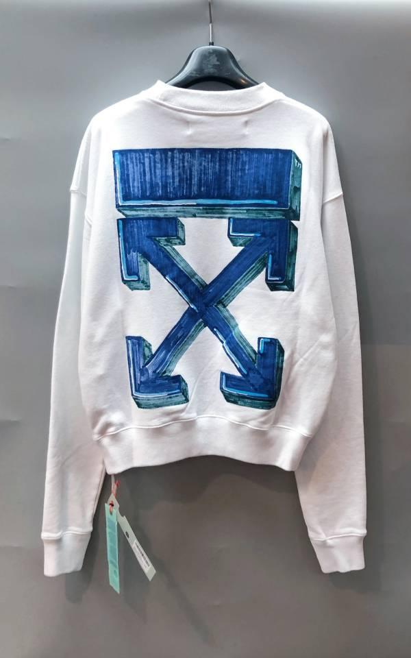 Off White 中性款圓領塗鴉箭頭運動衫衛衣上衣 白/藍  XXS/XS/S