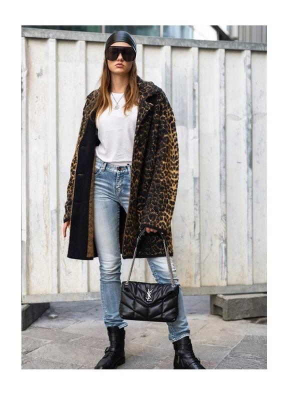 Saint Laurent 女款聖羅蘭 豹紋羊毛和馬海緹花外套  XS/S/M