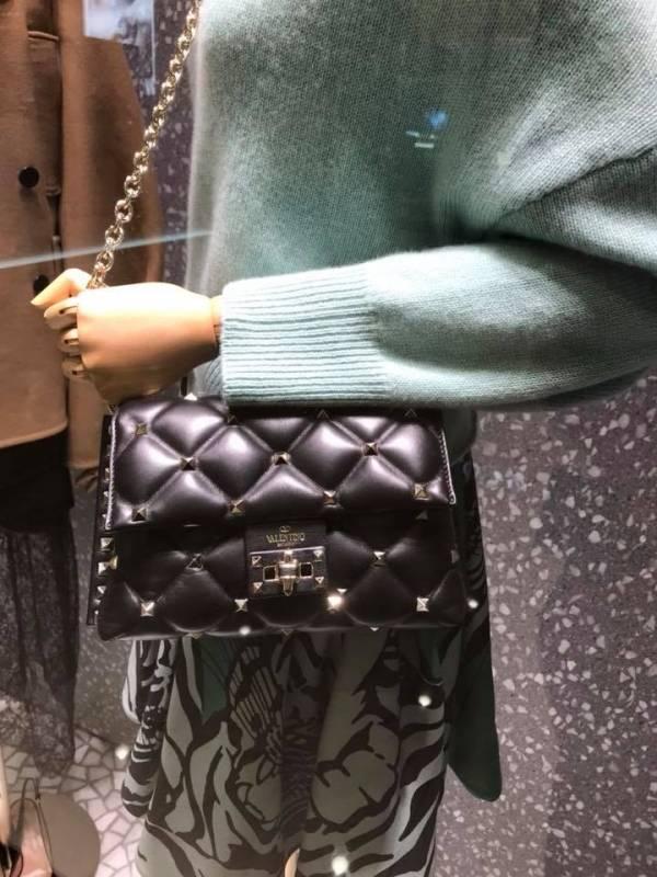 Valentino Candystud 鉚釘菱格紋雙鍊包 黑色 LOEWE,Hammock