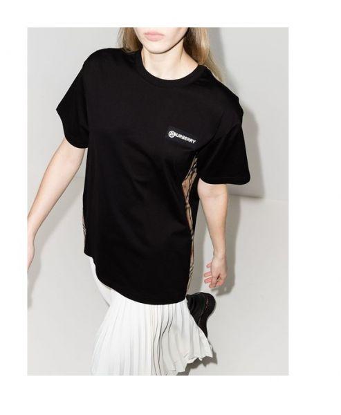 Burberry 女性款 Vintage 格紋裁片棉質寬版 T 恤  XS/S/M