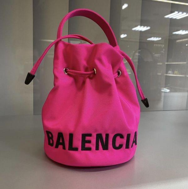 Balenciaga Wheel PVC 抽繩水桶包 XS  桃粉色 Balenciaga