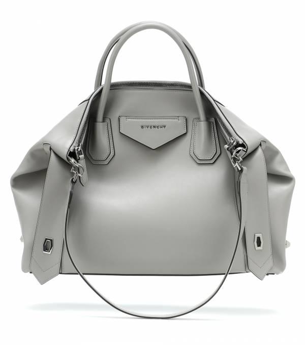 Givenchy 中款 Antigona Soft 柔軟小牛皮包 珍珠灰色