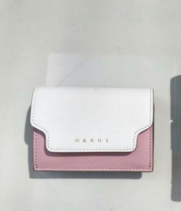Marni Saffiano耐刮小牛皮3折方形短夾 粉彩多色