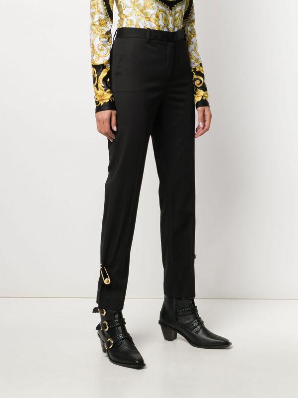 Versace 女款別針裝飾羊毛混紡修身彈性長褲    IT 40S/42M/44L
