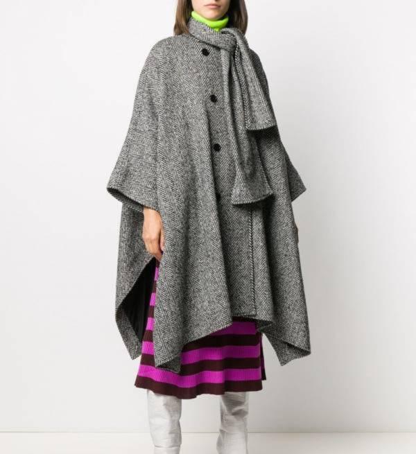 MSGM 女款黑色羊駝毛和羊毛混紡垂褶合身斗篷外套  IT 38 XS /40 S