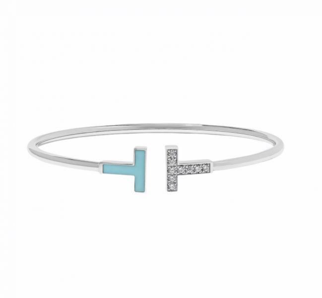 Tiffany T Wire 鑽石及綠松石線圈手鏈 M