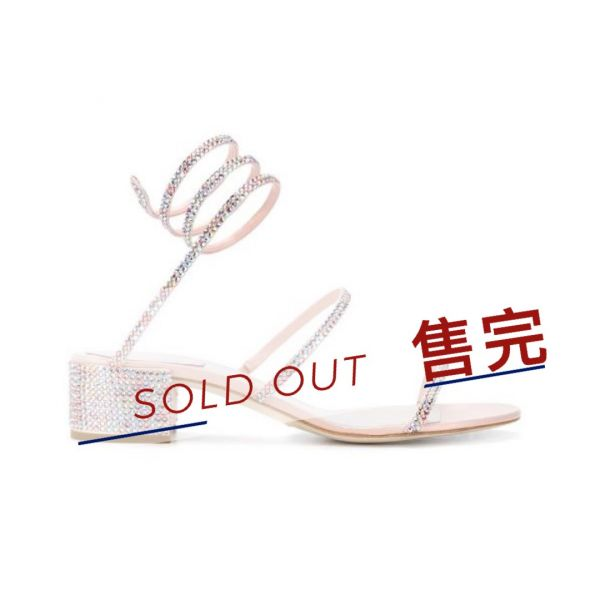 Rene Caovilla 多色水晶蛇環Cleo 4cm低跟涼鞋      IT 35/36.5/38