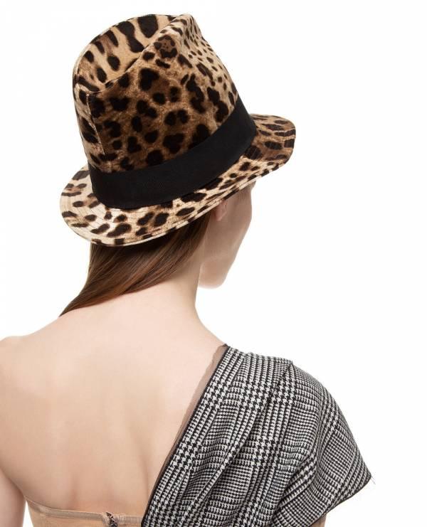 Dolce&Gabbana 棕色混紡豹紋印花全棉薄呢帽  57/58/59