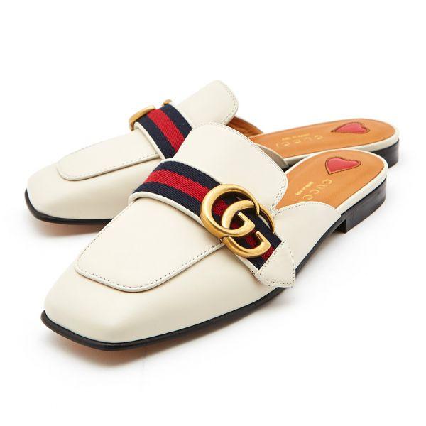 Gucci 423694 女款小牛皮織帶雙G拖鞋 白色  IT 36/36.5/37/37.5/38