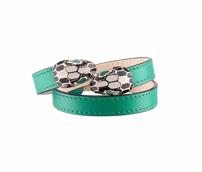 Bvlgari 蛇頭 Serpenti 翠綠色小牛皮多圈手環  S/M